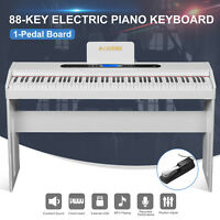 White Classic 88 Key Music Electric Digital LCD Piano Keyboard with Pedal Board