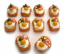 10 Sliced of Bread with Egg Bacon Dollhouse Miniatures Food Bakery Breakfast