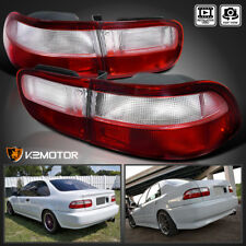 For 92-95 Honda Civic 2Dr 4Dr JDM Red & Clear Tail Lights Brake Lamps