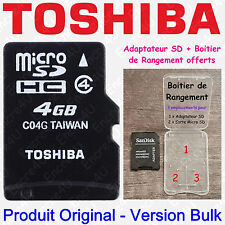Carte Mémoire TOSHIBA Micro SD SDHC 8 Go Classe 4 - Dispo aussi en 4 16 32 64 Gb