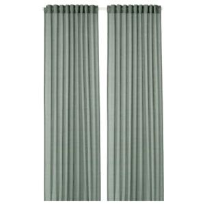 *New* HILJA Curtains, 1 pair, Grey green,145x250 cm 004.250.13 *Brand IKEA*