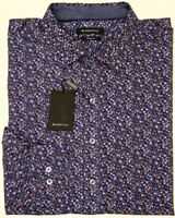NEW $125 Bugatchi Long Sleeve Shirt Classic Fit Mens Purple Floral NWT Stretch