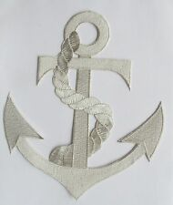 """#2333SL 8 3/4"""" Marine Nautical Silver Anchor Embroidery Applique Patch"""