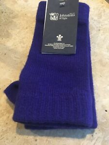 Johnstons Of Elgin Cashmere Luxury Wrist Warmer Gloves Purple Soft Thick Ladies