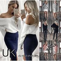 UK Women Long Sleeve Pullover Sweater Ladies Off Shoulder Jumper Dress Size 6-14