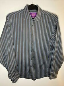 """Next Long Sleeve Shirt Vintage Fashion Collection Tailored Fit 17 1/2"""" 44cm Grey"""