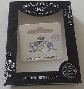 Marea Swarovski Crystal  Earrings - purple