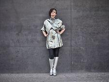Señora cazadora chaqueta abrigo plata 90er True vintage 90's Shiny flick-Flack