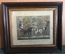 "Framed Horse Drawn Carriage, 1803 Antique Art Print ""meeting In A Narrow Lane"""