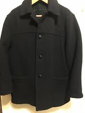 VTG Brooks Brothers HEAVY WOOL Overcoat Pea Coat M's M Black Plaid Made England