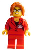 Lego Frau Reporterin Journalistin Beine Blazer in rot Minifigur City twn354 Neu