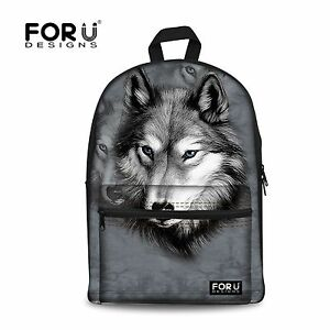 Animal Grey Wolf Backpack Men Travel Shoulder Bag School Bag For Teenager Trendy