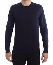 NEW $660 DOLCE & GABBANA Sweater Blue Silk Crew-neck Pullover IT52 / US42 / L