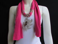 WOMEN PINK SOFT FABRIC FASHION SCARF LONG NECKLACE BIG SILVER BUTTERFLY PENDANT