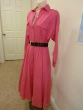 Andrea Gayle Bright Pink Cotton/Linen Shirtwaist Dress Sz 8
