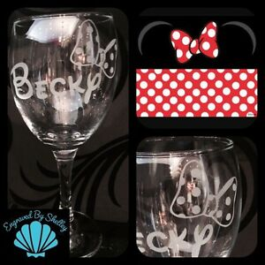 Personalised Disney Minnie Mouse Bow Wine Glass Perfect Gift For Her Hand Made!