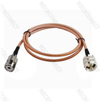 3ft UHF PL259 Male to SO239 Female RG142 Jumper Coaxial Cable For Antenna Cable