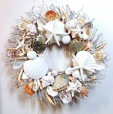 "21""Sea Shell Wreath on White Birch Twig w/Large Clams & Rare Blue Abalone Shells"
