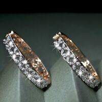 18k gold gf made with SWAROVSKI crystal huggies 4 leaf clover hoop earrings