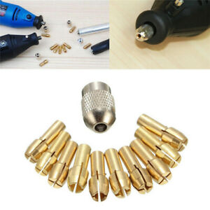 10x Brass Chuck Collet Drill Bit 0.5-3.2mm Set Fit Nut for Rotary Tool