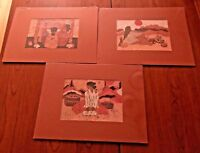 "3 Goldfarb Southwest Prints 12"" x 9"" Matted - Native Women Pottery Baskets Loom"