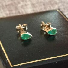 Screw Back (pierced) Emerald Stud Yellow Gold Fine Earrings