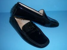 TOD'S Black Patent Leather Driving Moccasins Shoe Women 8 - EUC - Made in Italy