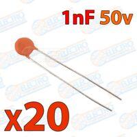 Mini condensador ceramico de 1nF 50v ±20/80% - Lote 20 unidades - Arduino Electr