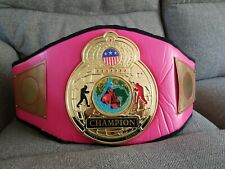 RARE WOMENS PINK TITLE GENUINE LEATHER BOXING CHAMPION BELT