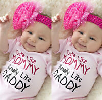 Newborn Infant Baby Girls Romper Bodysuit Jumpsuit Outfits Sunsuit Clothes A