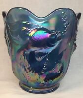"Fenton Art Giass Twilight Blue Carnival Atlantis ""Fish"" Vase For QVC"