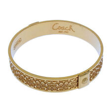 Coach Bangle Bracelet Signature Gold Woman Authentic Used Y2074