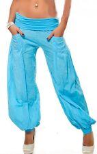 Sexy da donna MISS PUMP HAREMS Pluder Aladin Style BUGGY Estate Pantaloni 34/36/38 BLU