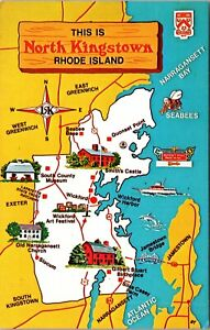 Vintage 1950's Map of North Kingstown Rhode Island RI Postcard