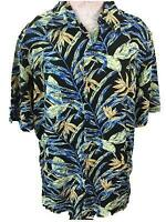 Crazy Horse mens Hawaiian shirt size XL rayon green black palm leaves Claiborne