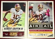 Robert Griffin III Baltimore Ravens QB signed football 2 card auto autograph LOT