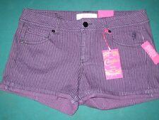 Size 3 Candie's Purple Violet Striped Mini Short Shorts New Cute Fun Candies