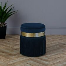Ports of Call Jeff Banks: -Navy Blue Velvet Footstool with Fringe Luxury Chair