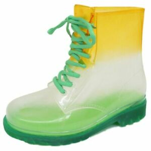 LADIES FLAT GREEN CLEAR FESTIVAL JELLY WELLIES LACE-UP RAIN ANKLE BOOT SHOES 4-8