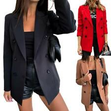 Women Formal Double Breasted Slim Fit Blazer Coat Ladies Office Work Jacket Suit