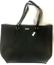 NWT White House Black Market Large Black Vegan Tote Bag Purse Shopper Carry On