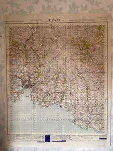 1947 Military System Map Plymouth War Office Edition Devon Tavistock Salcombe