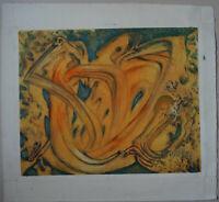 G. VON DER LOO (1911/1996) Huile  -  COMPOSITION   - Signé