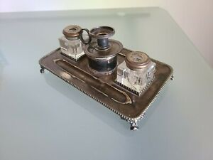 Antique Silver Plated Sterling Silver And Crystal Double Inkwell Made In England