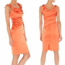 Karen Millen Dress UK-10 Coral Orange Satin Pencil Wiggle Evening Party Dress