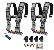 Pro Armor 4 Point 3 Padded Seat Harness Pair Mount Kit Bypass Silver Maverick X3