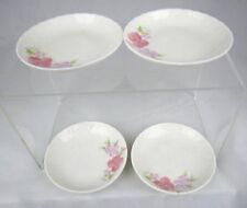 Vintage MANDARIN CHINA Plates Saucer Small Tea Cup Floral Flowers Pink Set of 4