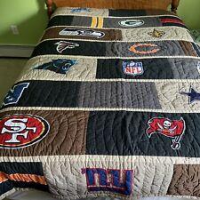 Pottery Barn Teen NFL NFC Football Quilt Full Queen Bedding Cotton Logos