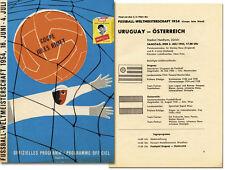 World Cup Fußball Weltmeisterschaft 1954 Programm Österreich - Uruguay 3rd place