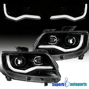 For 2015-2021 Chevy 15-21 Colorado Polished Black Projector Headlights LED Strip